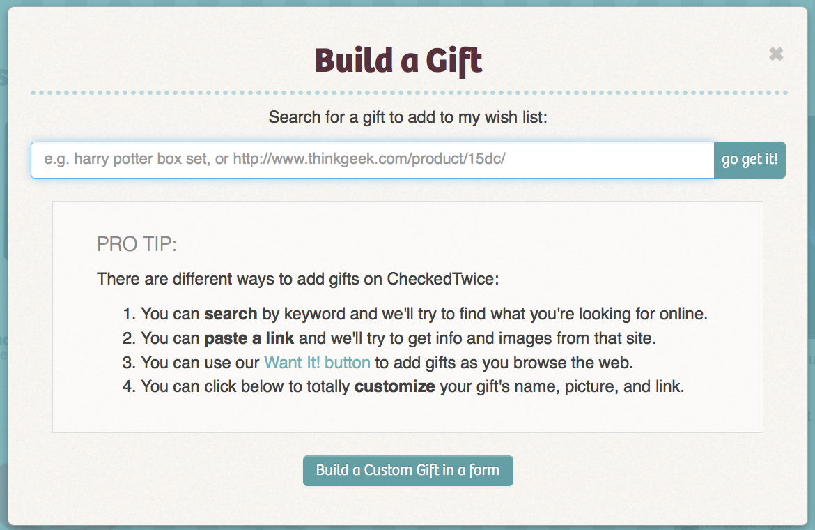 CheckedTwice HelpAdd Gifts to your wish listClaim gifts for – Christmas Wish List Form