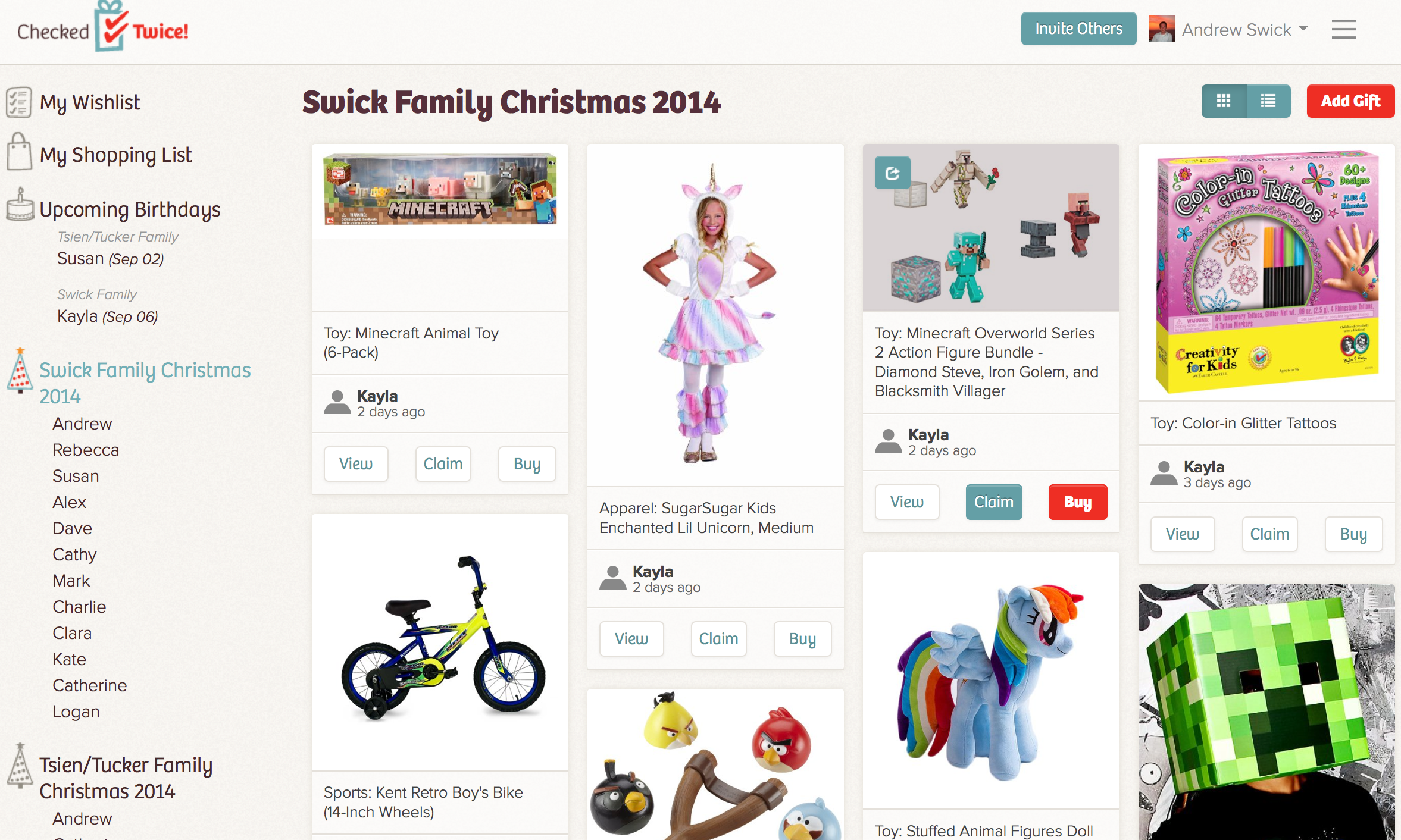 CheckedTwice Family Gift Registry|Christmas Wish List|Birthday Wish List